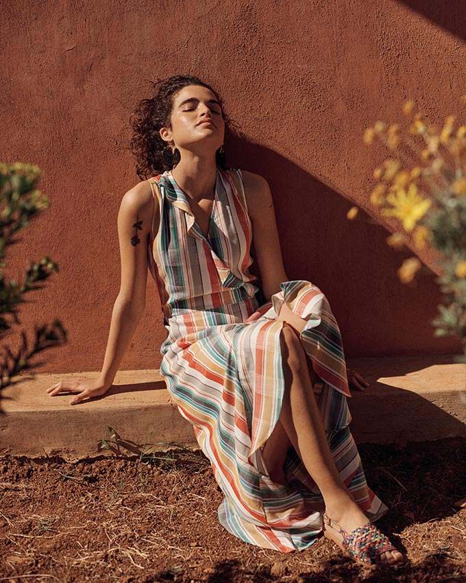 I love this maxi summer dress with orange and green hue stripes. Image by Next.