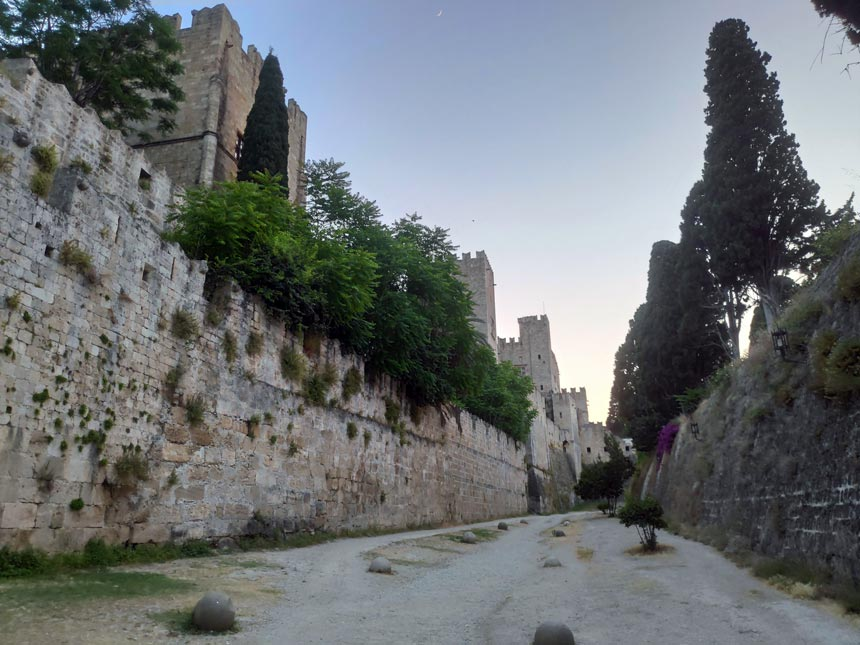 Partial view of the large Venetian fortress in the old town of Rhodes, Greece.