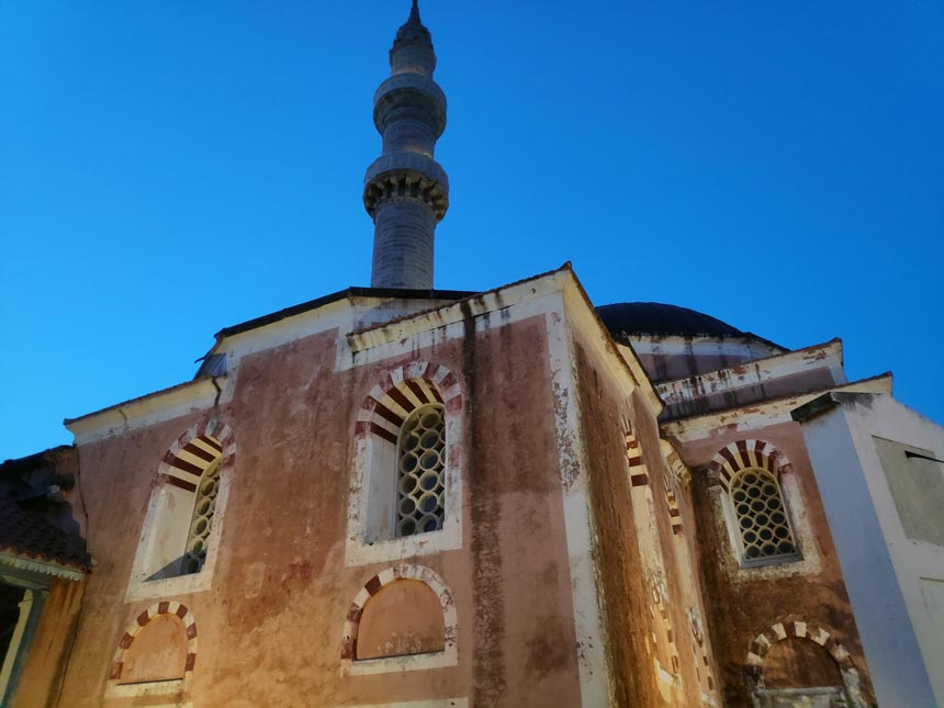An old mosque landmark in the old town of Rhodes.