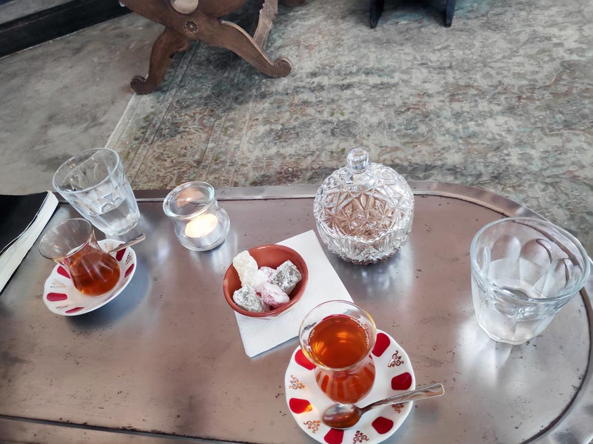 Tea and loukoumi treats after a hammam spa treatment.