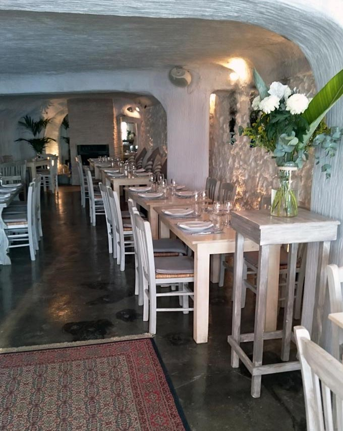 Interior of a seafood restaurant in Vouliagmeni