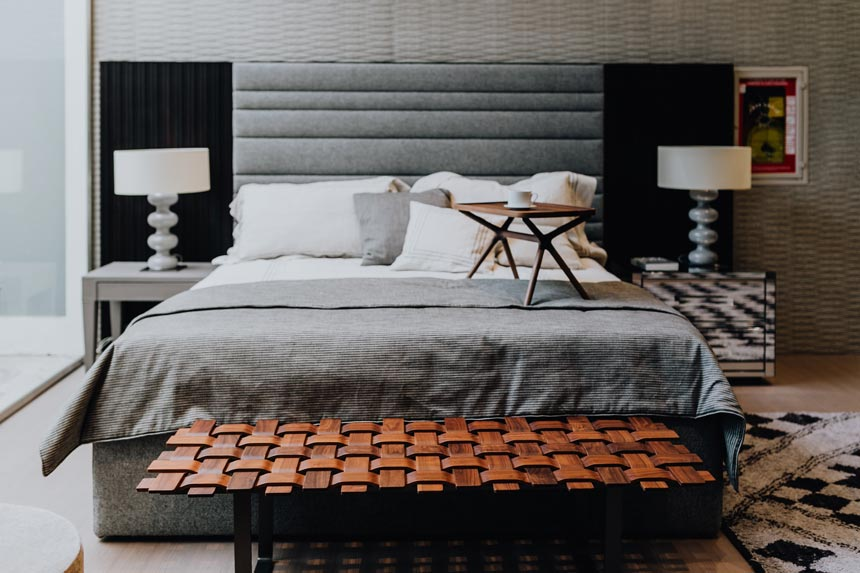 A stylish contemporary bedroom with lots of sculptural patterns going on.