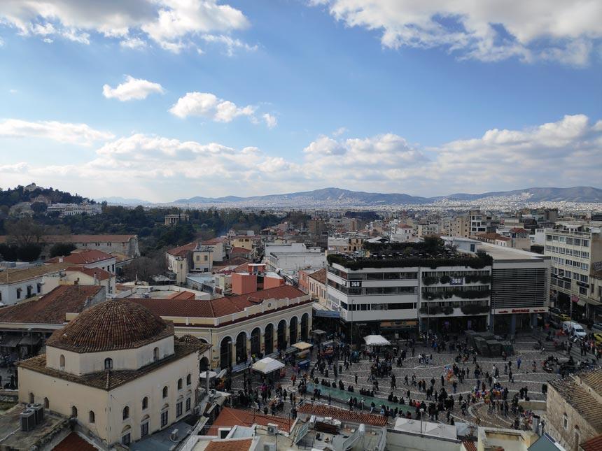 Bird's eye view of the Monastiraki Square downtown Athens.