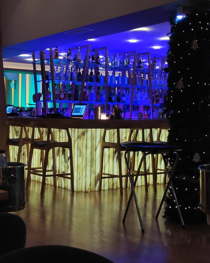 Partial view of a bar at the Riviera restaurant in Voula.