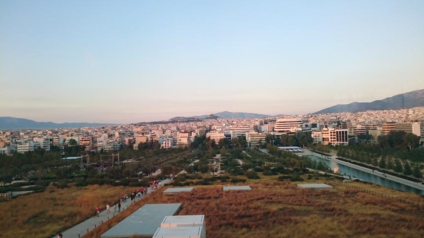 Partial view of Athens from the Stavros Niarchos Cultural Foundation Center's watch tower.
