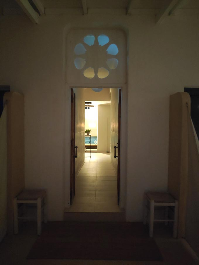 Looking into the reception area through the main entrance on a late evening.