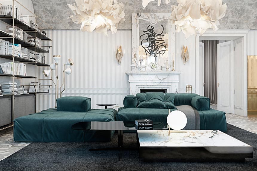 Partial view of a luxurious living room with a green modular sofa, white armchairs, a marble fireplace and lots of cloud like pendant lights..