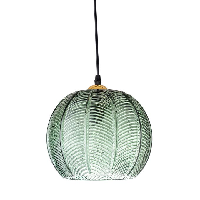 A pale green glass pendant light shaped like a palm leaf. Image by Cult Furniture.