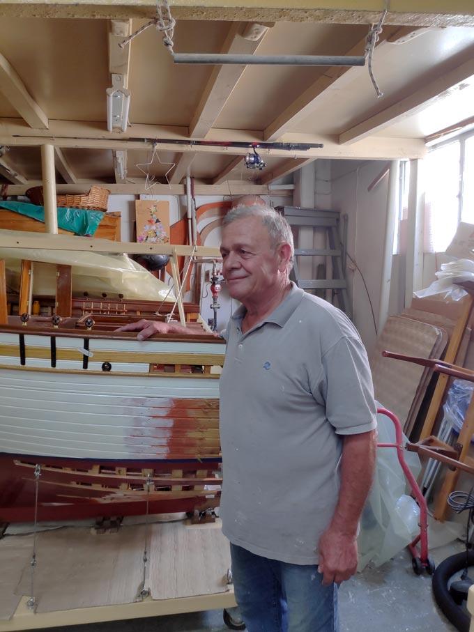 Mr Zorzos, a model boat maker.