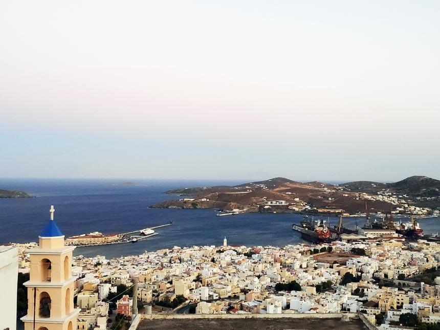 Aerial view of Hermoupolis from Ano Syros, Greece.