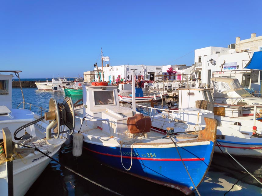 Fishing boats docked at Naoussa's port in Paros.