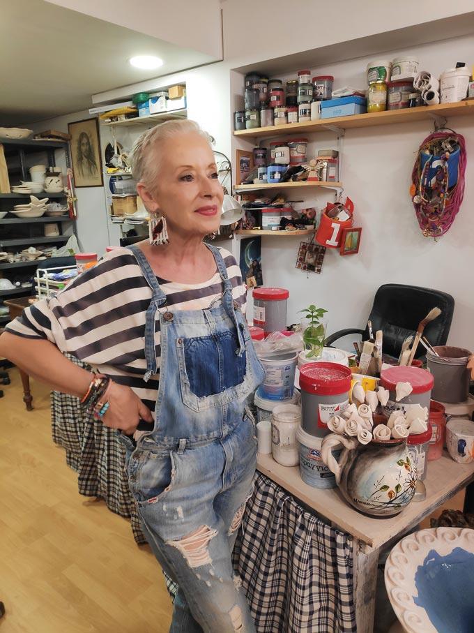 Maria Banou, a ceramics artist in her workshop.
