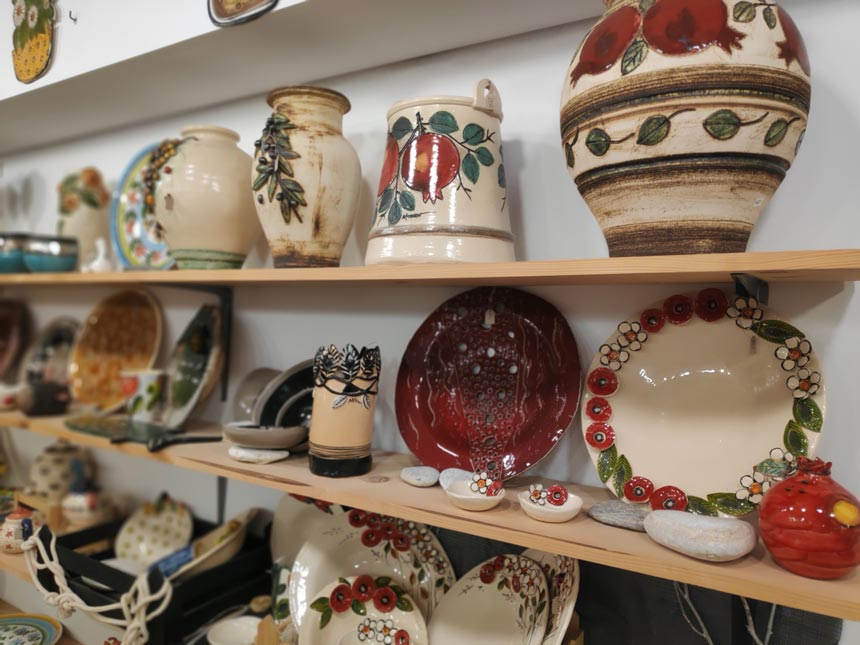 Part of Maria Banou's ceramic collection of vases, platters and bowls.