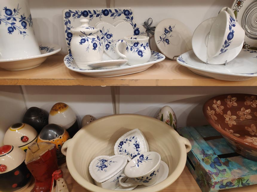 Ceramic bowls and platters hand painted by Maria Banou.