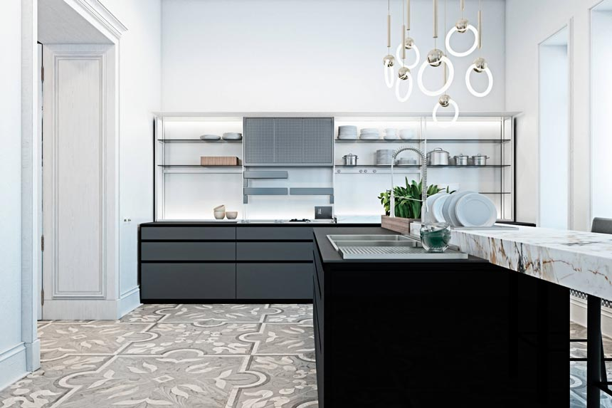 A contemporary kitchen that looks sleek and understated yet with a strong impact, featuring a pattern floor and black cabinetry.