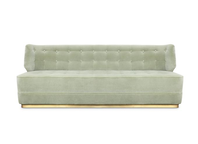 A soft greyish almost pale green velvet sofa to give that awe factor. Looks like Tranquil Dawn color of the year 2020. Image: Brabbu Design Forces.