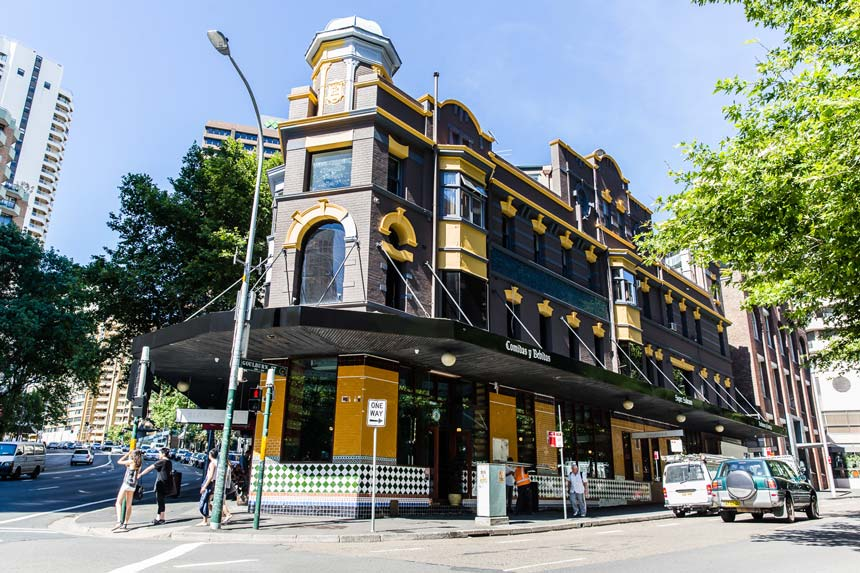 View of the exterior facades of Hotel Harry in Sydney's Surry Hills.