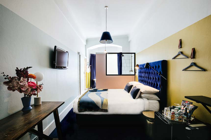 One of the 22 rooms of Hotel Harry at Surry Hills, Sydney.