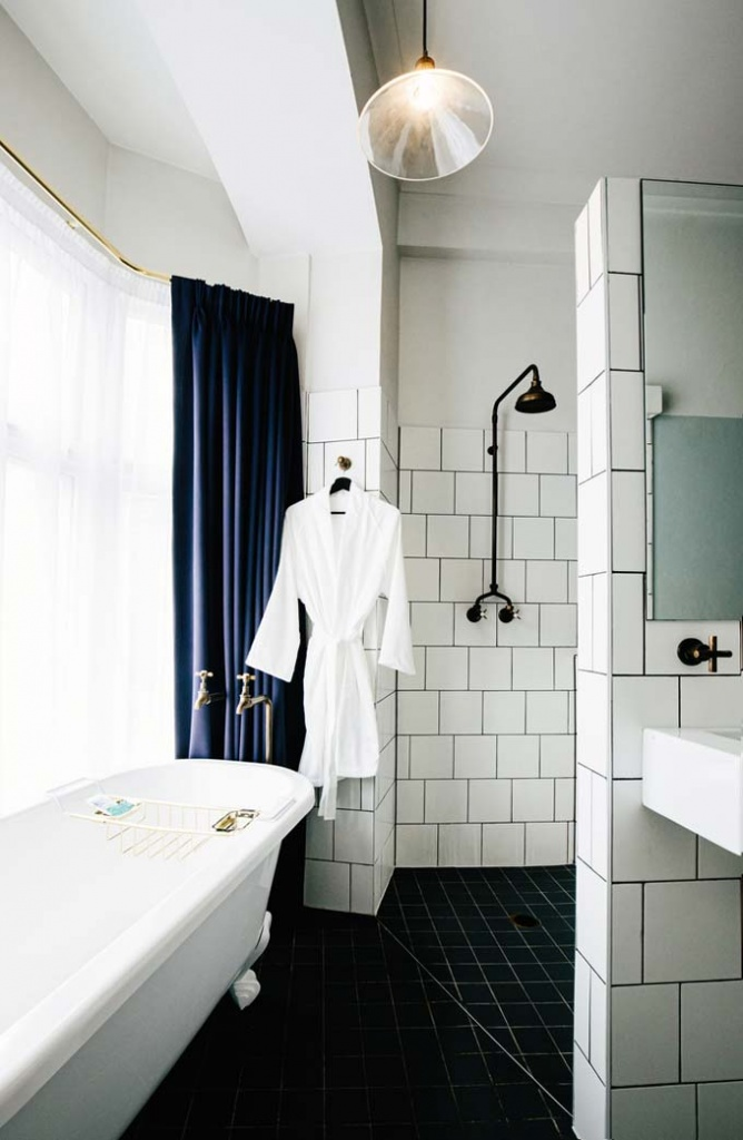 View of one of the bathrooms at Hotel Harry at Surry Hills, Sydney.