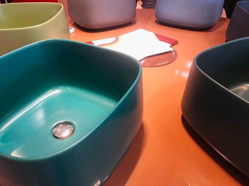 Several colored washbasins from Artceram at Cersaie 2019.