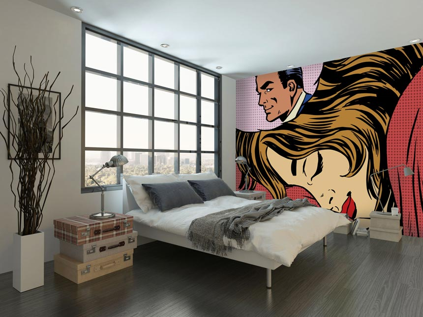 A cartoon based dream romance wall mural from Wallsauce. Ideal for a teen's bedroom. Image via Wallsauce.