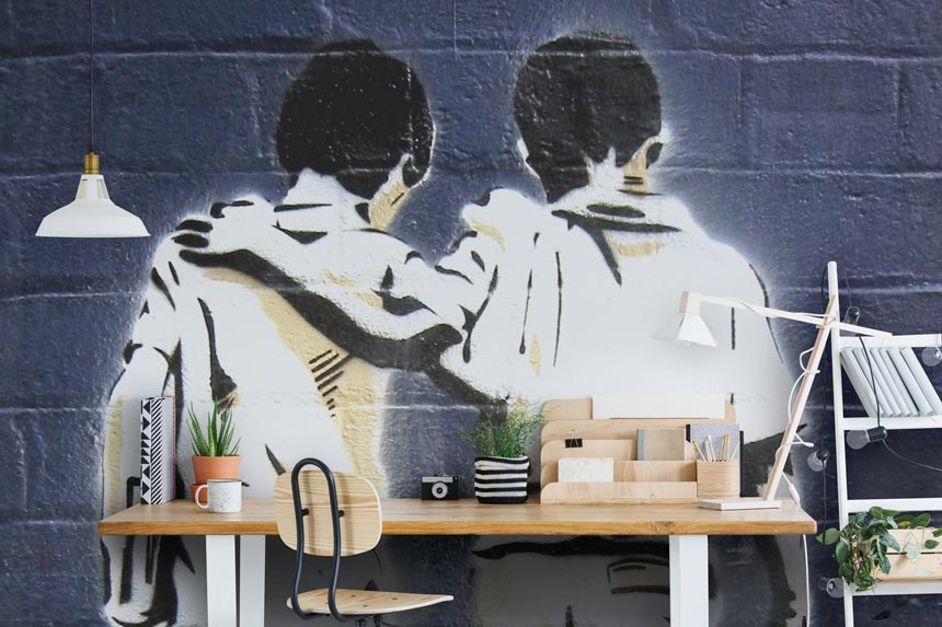 A graffiti inspired wallpaper mural with 'friends' as a theme from Wallsauce. Image via Wallsauce.