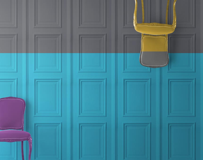 Grey & turquoise panelling wallpaper from Mineheart. Image via Mineheart.