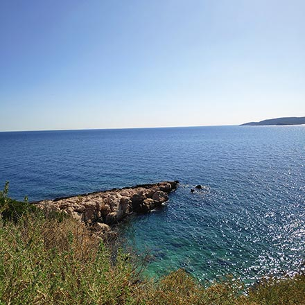Sea view on a sunny day from Kavouri, Vouliagmeni Greece.