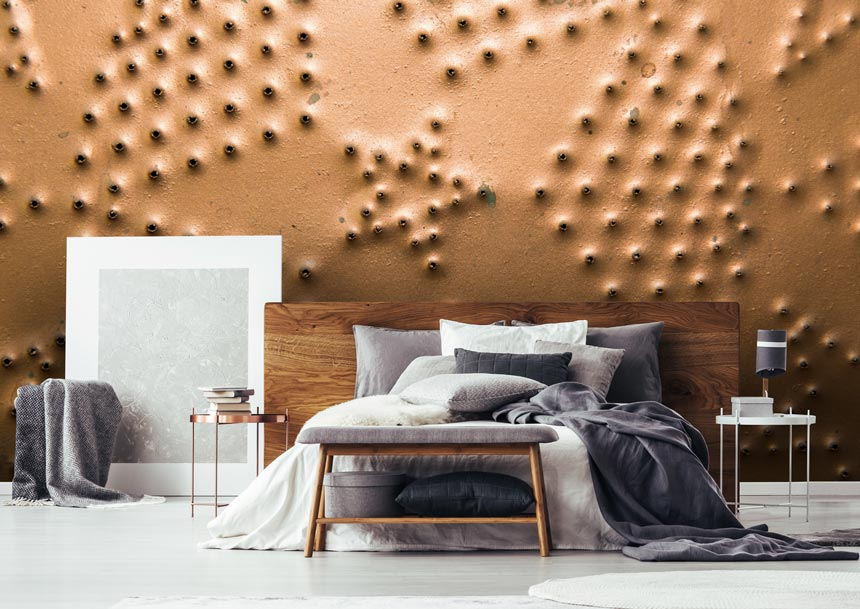 Punched tin wallpaper mural for a teen's bedroom can be super cool. Image via Wallsauce.