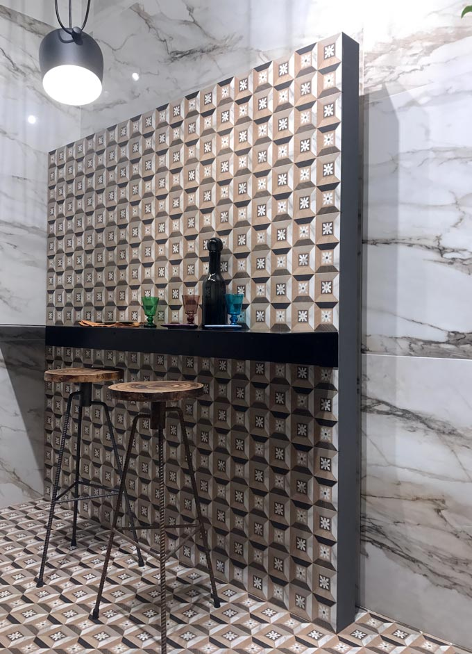 A vignette with tiles from the booth of Santagostino at Cersaie 2019.