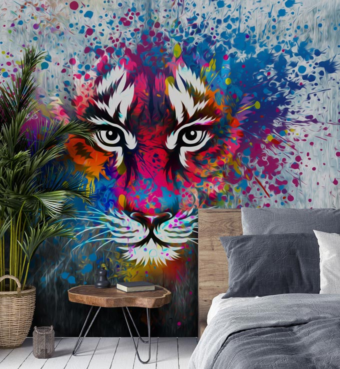A vibrant tiger wallpaper that would be great in a teens' room. Image via Wallsauce.