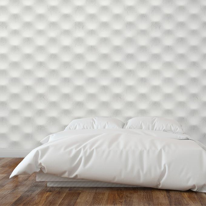A 3d stone effect white wallpaper from Mineheart. Image via Mineheart.