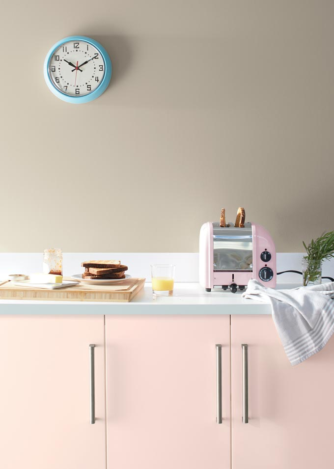 A pink kitchen after BM's First Light Color of the Year 2020. Image via Benjamin Moore.