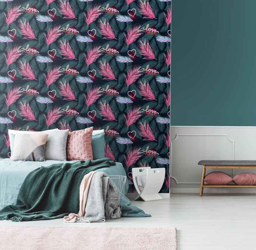 A bold and vibrant print pattern wallpaper that is ideal for a teenagers room. Image via Cultfurniture.
