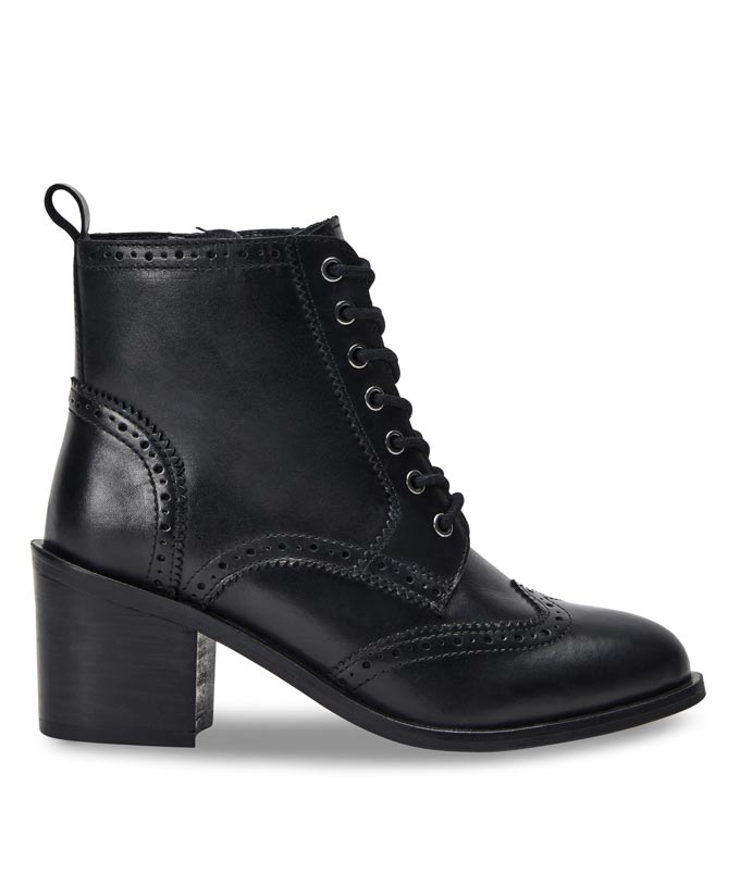 A laced up black ankle boot with a block heel. Image via Joe Browns.