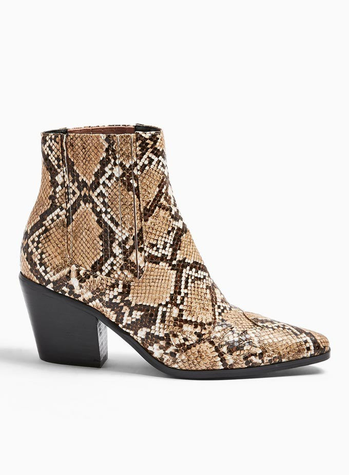 A snake print ankle boot. Image via Miss Selfridge.