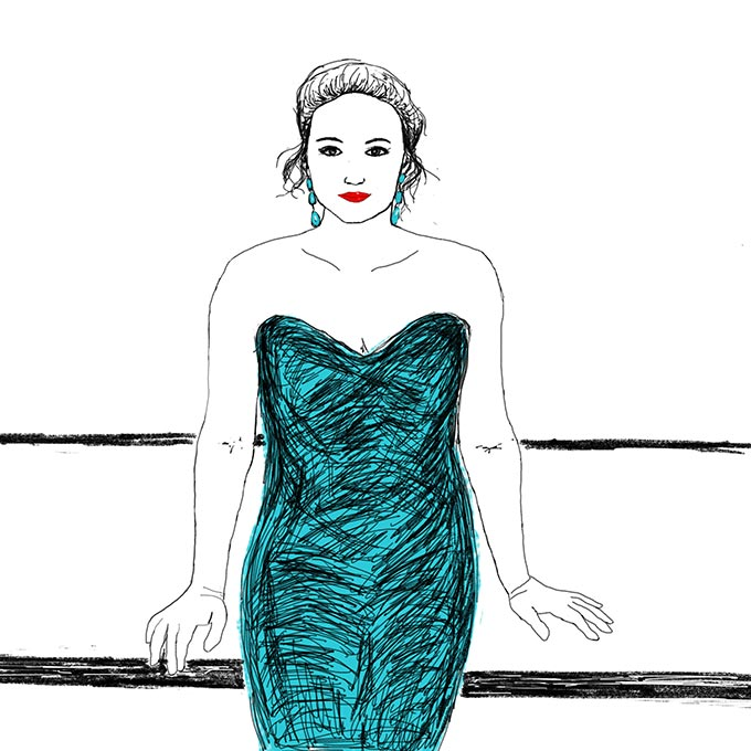 A sketch of a woman in a strapless blue green outfit.