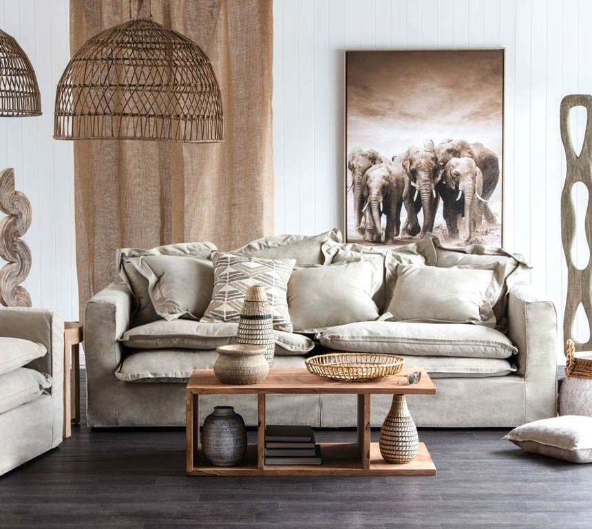 An eclectic Scandi boho living room with a very soft and neutral color palette. Image via OZ Design Furniture.
