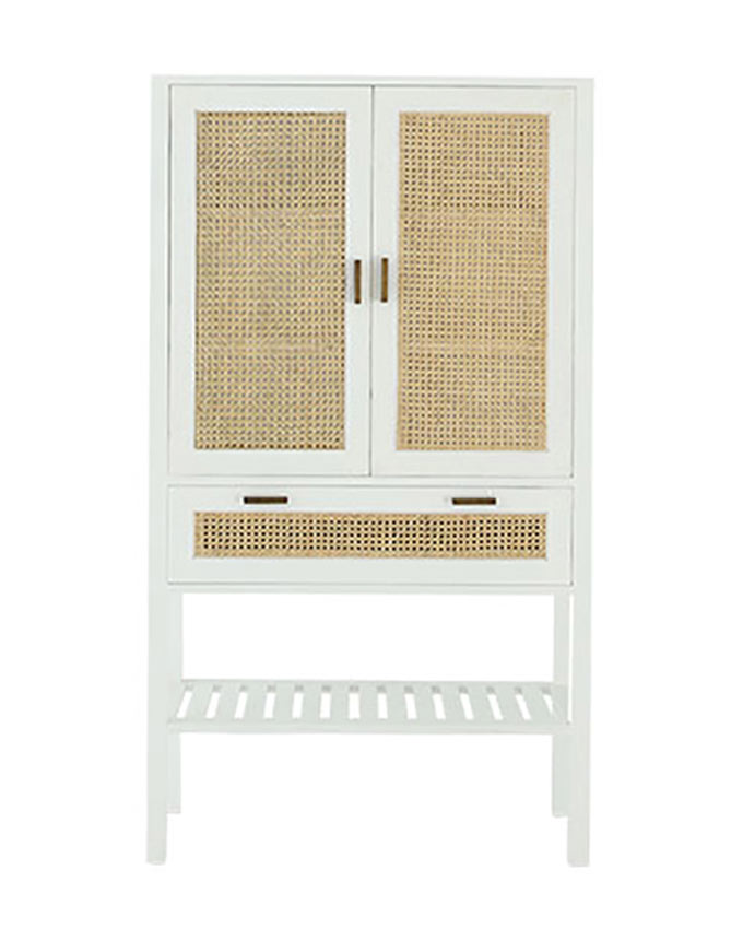 A cut out image of a white cabinet with rattan details. Image by OZ Design Furniture.