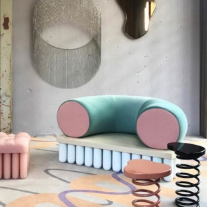 Fluid Forces is the Elle Decoration installation during the 2019 Dutch Design Week. Here's one of the three spaces.