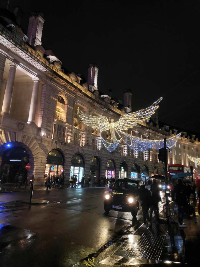 The angels on Regent Street London have lit up again for the holiday season. Image by Velvet.