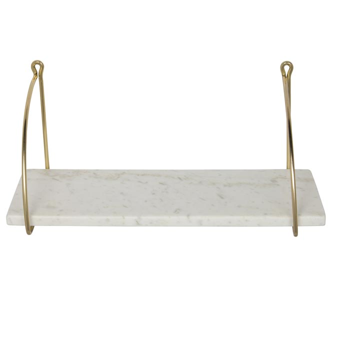 A white marble bathroom shelf with brass details from Audenza. Marble decor ideas.