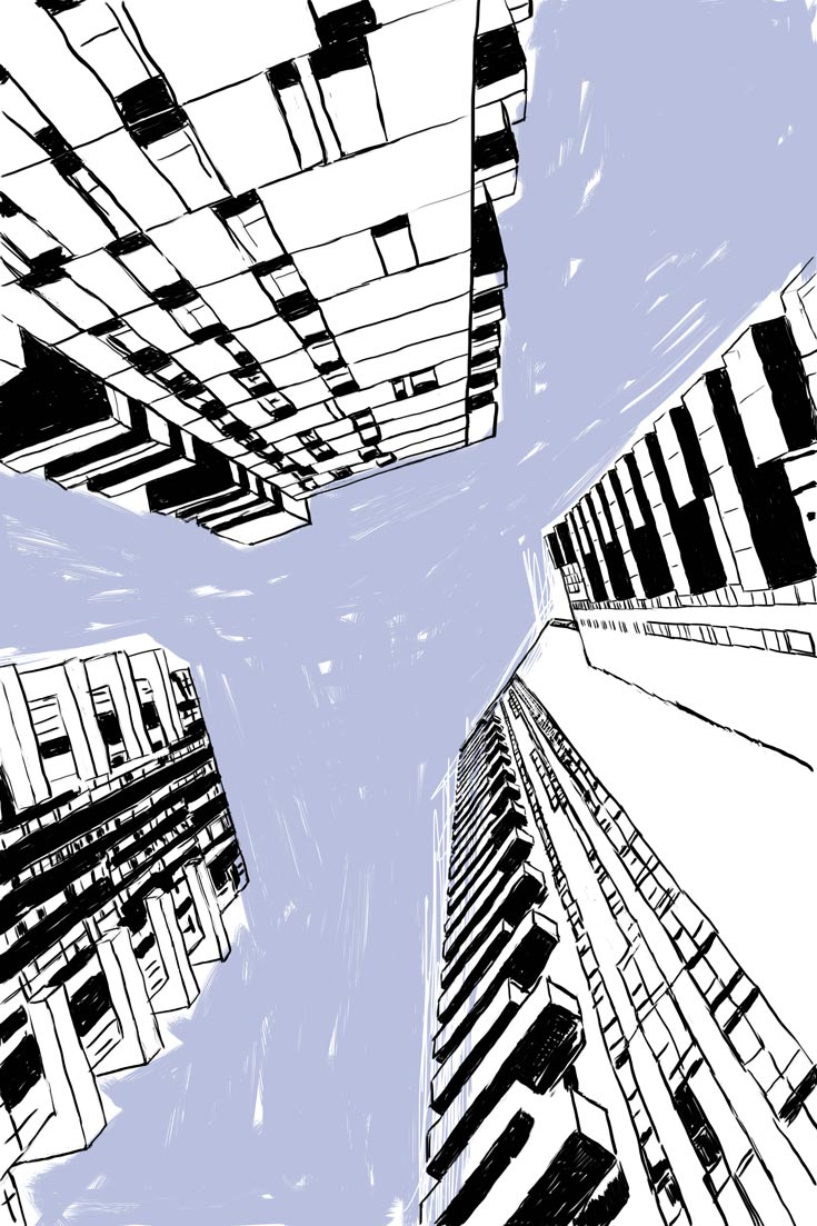 An illustration of a cityscape as you look up into the sky and the scrapers appear to come together. It represents the unknown you face when leaving your hometown.