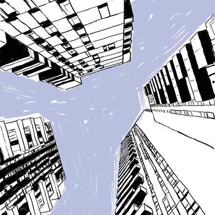 An illustration of a cityscape as you look up into the sky and the scrapers appear to come together.