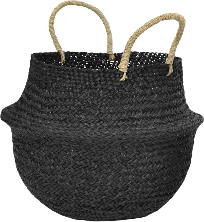 Cut out image of a black seagrass boho inspired basket with natural handles. Image via Cult Furniture.
