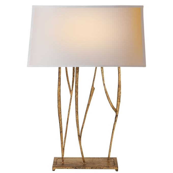 The Montauk Lighting Co. The Aspen Console Lamp in gilded iron with natural paper shade.