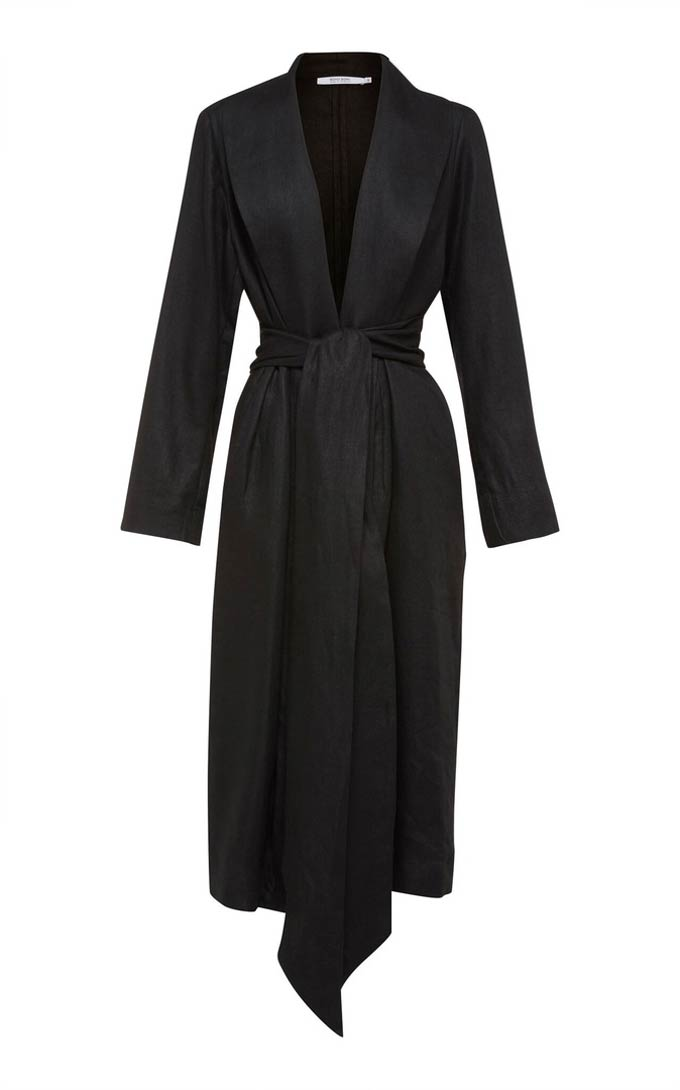 A black coat robe. Image by Bondi Born.