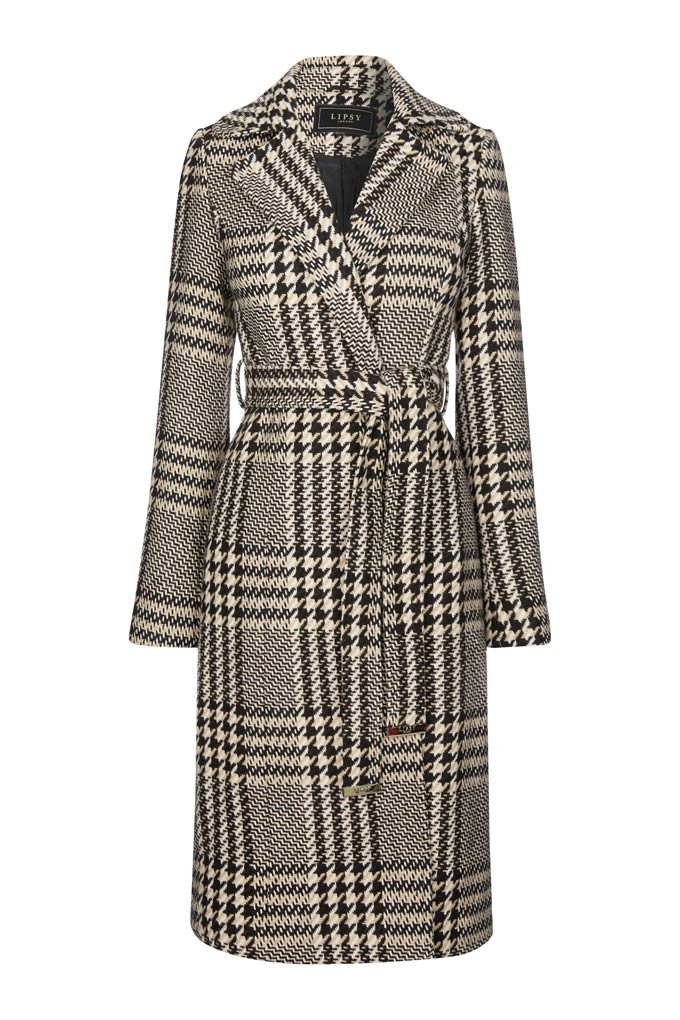 A black and white check overcoat. Image by Lipsy.