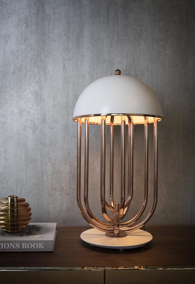A mid-Century inspired table lamp known as the Turner by DelightFULL.