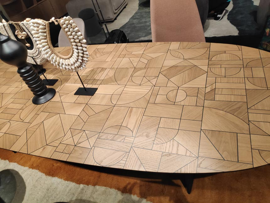 It's all about geometric shapes. The top surface of a dining table from Roche Bobois captured at Salone del Mobile in Milan 2019.
